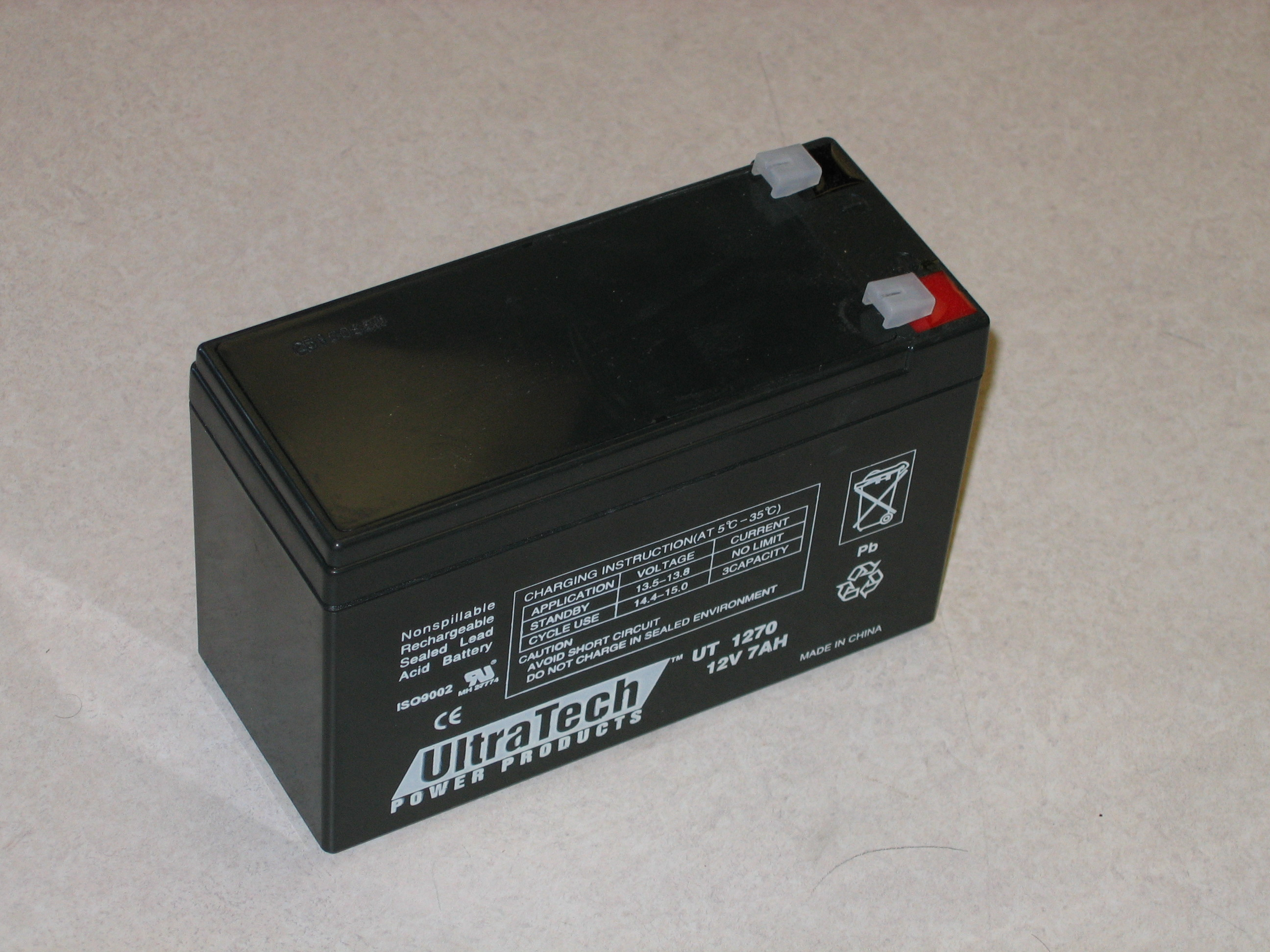 Photograph of a 12V 7AH Gel Cell Battery