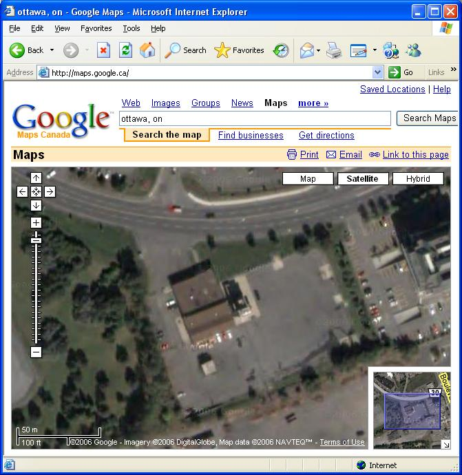 Satellite View of Ottawa fire Service Dispatch Centre