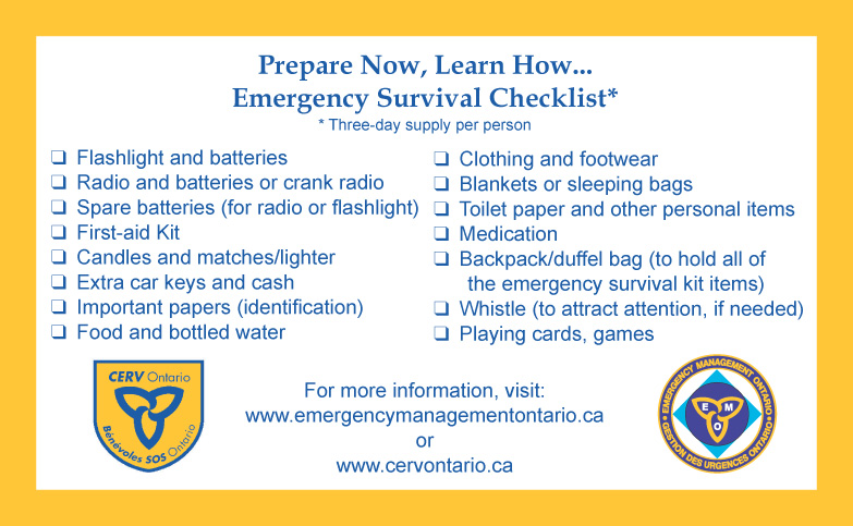 Emergency Survival Checklist