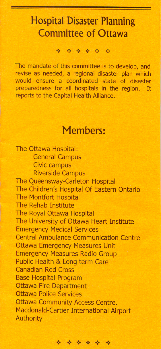 Hospital Disaster Planning Committe of Ottawa